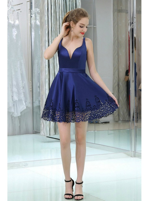 Blue Satin Sweetheart Cocktail Knee Length Homecoming Dress