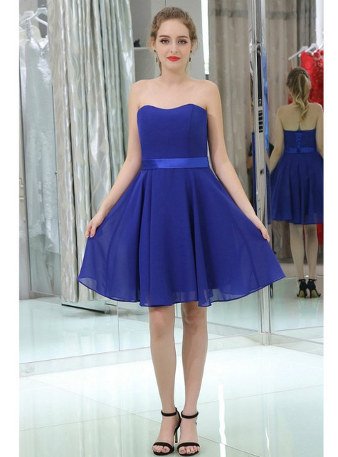 Royal Blue Simple Cocktail Chiffon Strapless Homecoming Dress