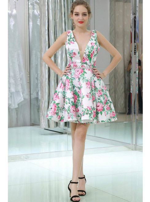 Floral Print Short Satin V Neck Homecoming Dress With Beading