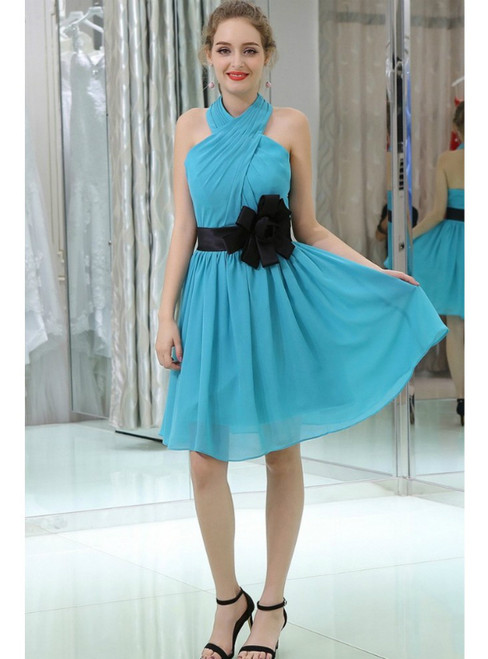 Pleated Chiffon Knee Length Halter Homecoming Dress With Black Sash