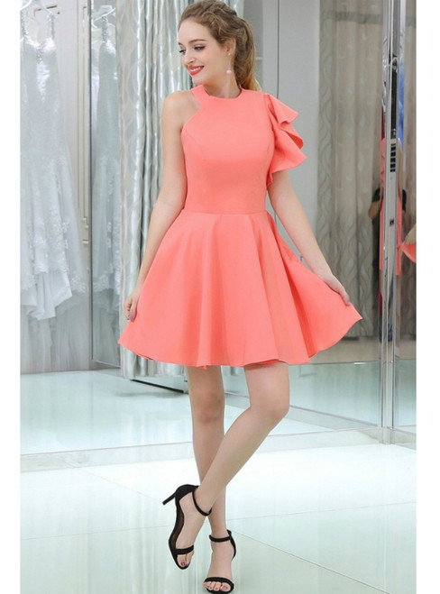 Watermelon Short Satin Backless Short Homecoming Dress