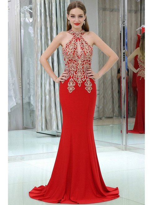 Long Halter Mermaid Appliques Lace Red Prom Dress