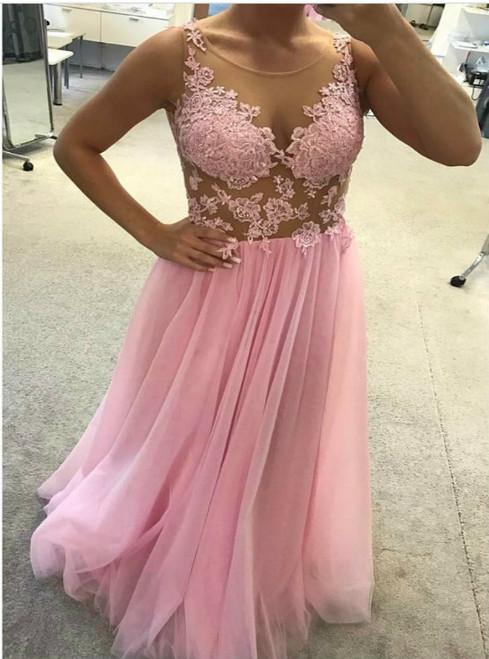 Pink Bridesmaid Dress,Tulle Bridesmaid Dress