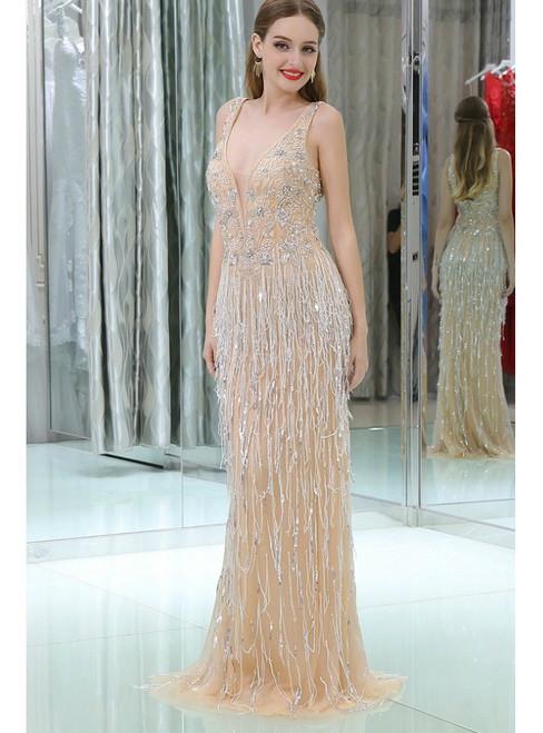 Mermaid Bling Bling Champagne Sequined Long Prom Dress