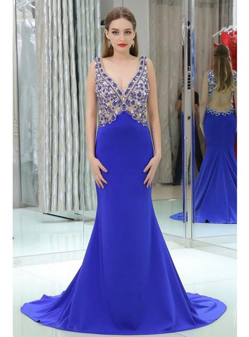 Mermaid Blue V-neck Backless With Beading Prom Dress