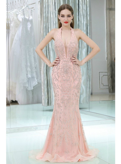 Sparkly Beading Open Back Pink Halter Neck Prom Dress