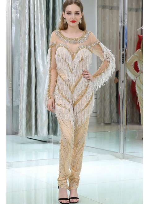 Exaggerated Beading Long Sleeves Formal Jumpsuits For Parties