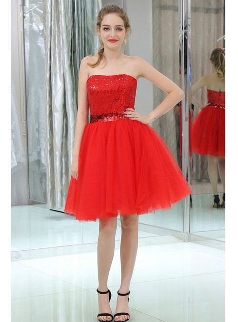 Red Cocktail Sequined Tulle Strapless Homecoming Dress