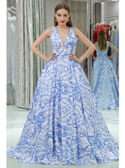 Long V Neck Floral Print Blue Satin Prom Dress