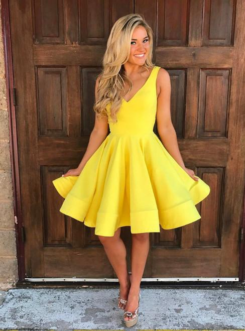 A-line V-neck Satin Knee Length Homecoming Dress