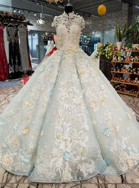 Blue Ball Gown High Neck Backless Haute Couture Wedding Dresses