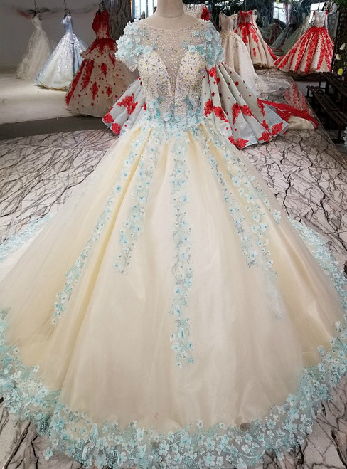 Ball Gown Cap Sleeve Backless Tulle Appliques Haute Couture Wedding Dresses