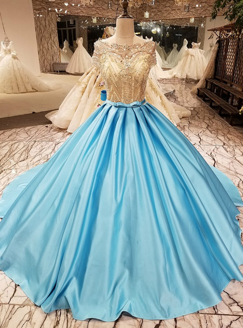 Ball Gown Short Sleeve Backless Beading Haute Douture Wedding Dresses