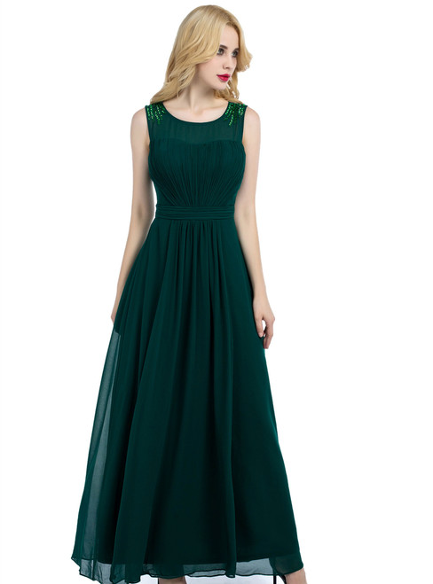 Green Chiffon Pleats Scoop Bridesmaid Dress With Beading