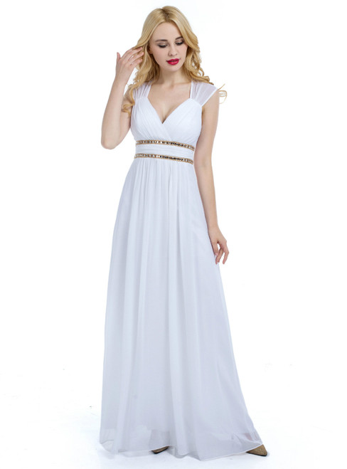White V-neck Chiffon Backless With Pleats Bridesmaid Dress