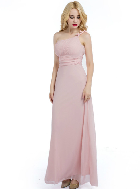 Pink One Shoulder Floor Length Bridesmaid Dress With Pleats