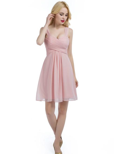 Pink Chiffon Straps Knee Length Bridesmaid Dress