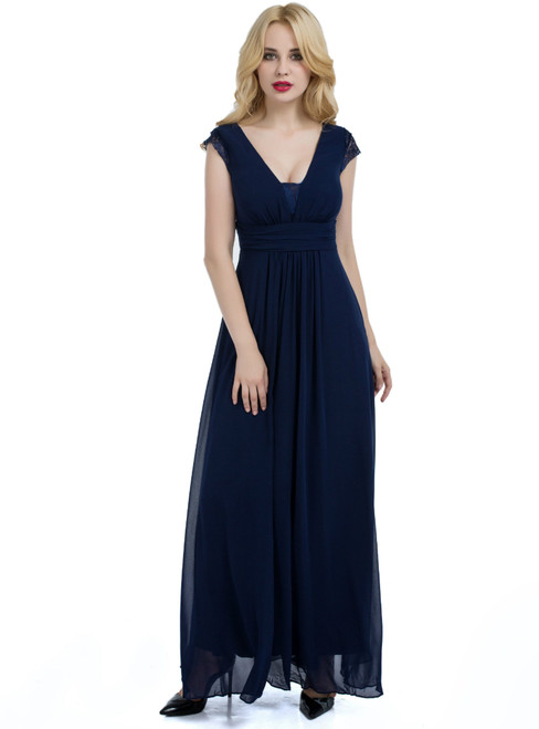 Blue Chiffon V-neck Backless Floor Length Bridesmaid Dress