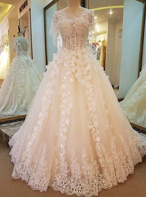 Ball Gown Tulle Appliques Beading Backless Haute Douture Wedding Dresses