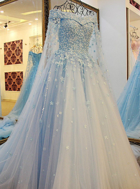 Blue Tulle Off The Shoulder Appliques Beading Wedding Dress