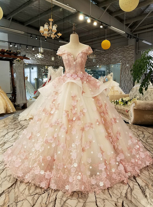 White Tulle Pink Flower Ball Gown Cap Sleeve Train Wedding Dress