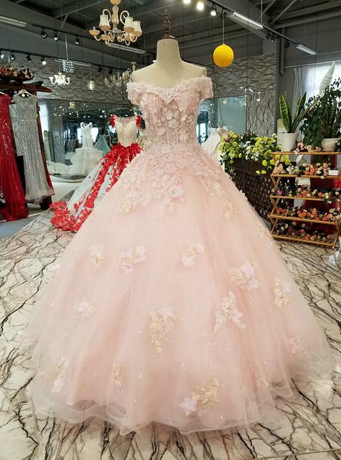 Pink Off The Shoulder Tulle Appliques Floor Length Wedding Dress