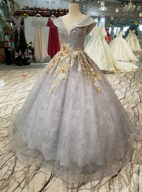 Gray Tulle Sequins Backless Appliques Beading Wedding Dress