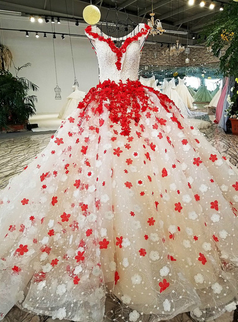 Ball Gown Tulle Off The Shoulder Backless Flower Wedding Dresses