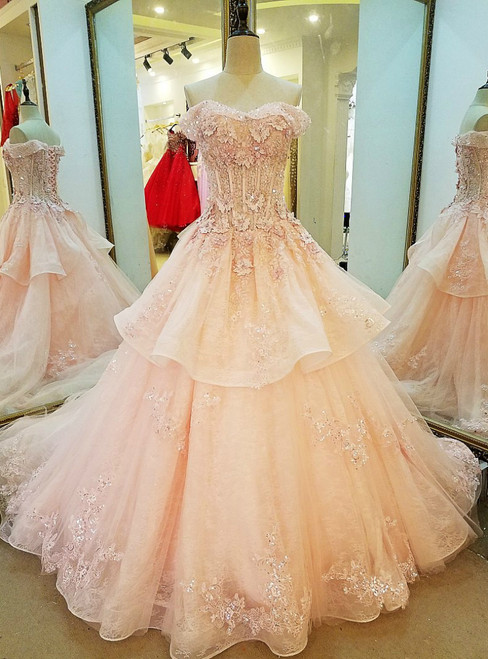 Pink Ball Gown Tulle Off The Shoulder Appliques Wedding Dress