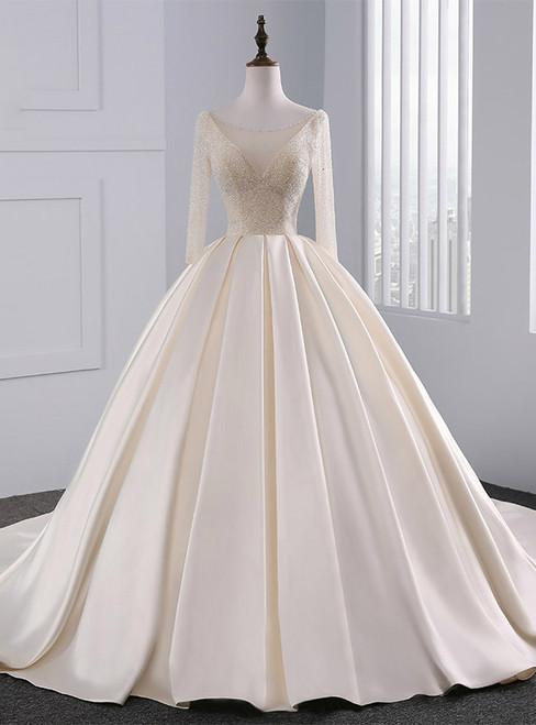 Champagne Long Sleeve Backless Satin Beading Wedding Dress