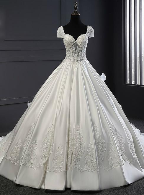 White Tulle Satin Ball Gown V-neck Train Beading Wedding Dress