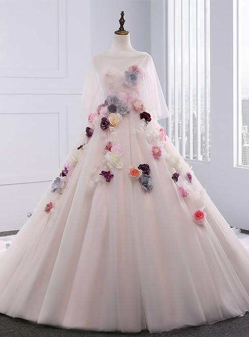 Light Pink Ball Gown Sweetheart Tulle Flower Wedding Dress