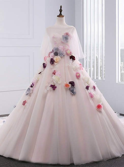 Light Pink Ball Gown Sweetheart Tulle Flower Wedding Dress