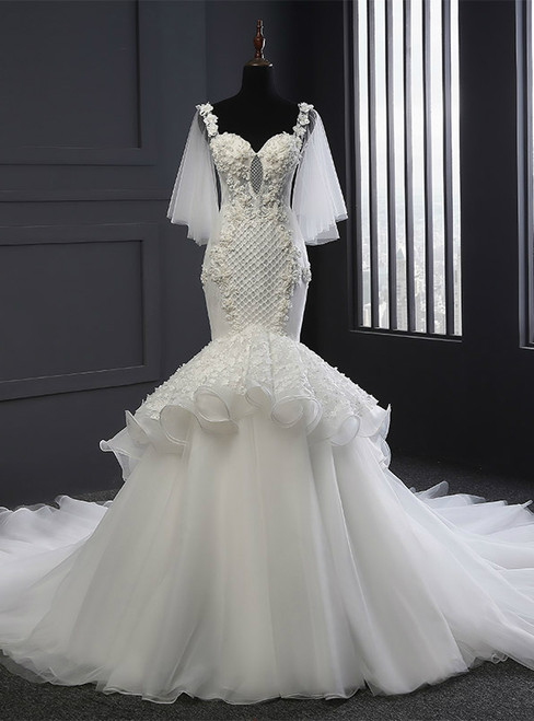 Mermaid Straps Sweetheart Backless Tulle Backless Wedding Dress