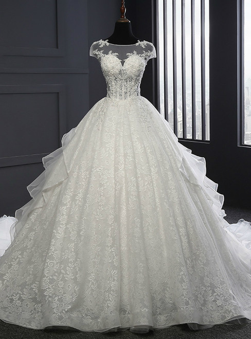 White Lace Tulle Cap Sleeve Backless Pearls Wedding Dress
