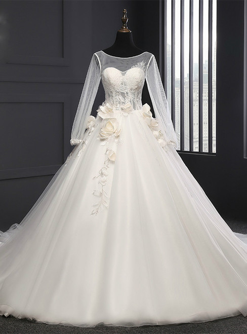 White Ball Gown Tulle Backless Tulle Train Wedding Dress
