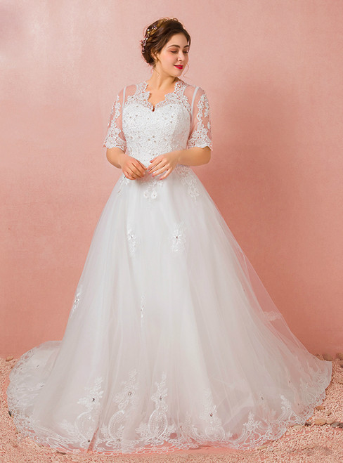 White Tulle Short Sleeve Backless V-neck Appliques Wedding Dress