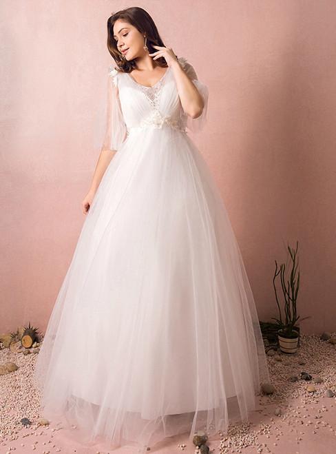 A-Line V-neck White Tulle Floor Length Wedding Dress