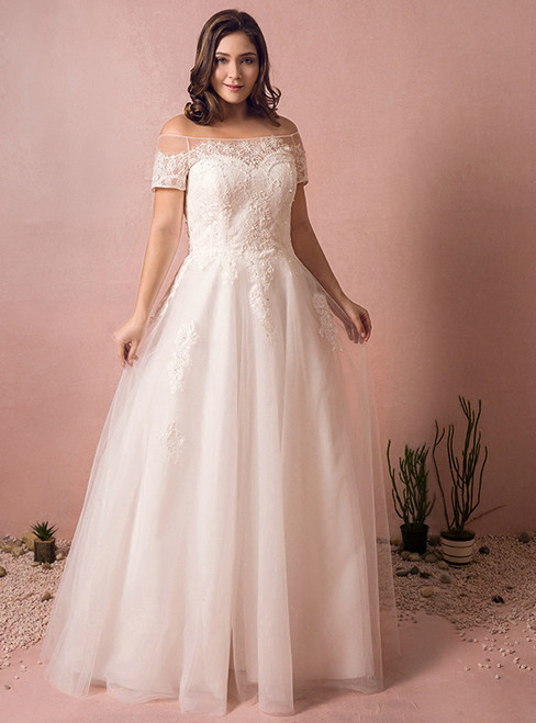 A-Line White Tulle Lace  Off The Shoulder Wedding Dress