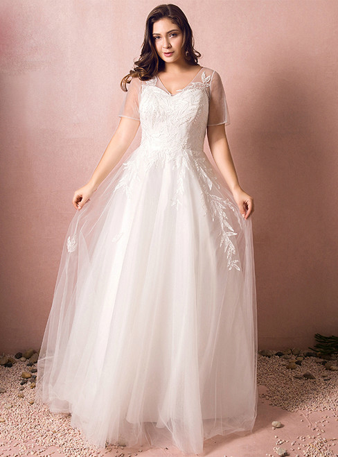 Plus Size A-Line V-neck White Tulle Short Sleeve Wedding Dress
