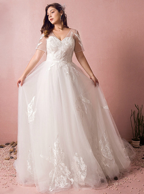 Plus Size A-Line V-neck White Tulle Train Wedding Dress