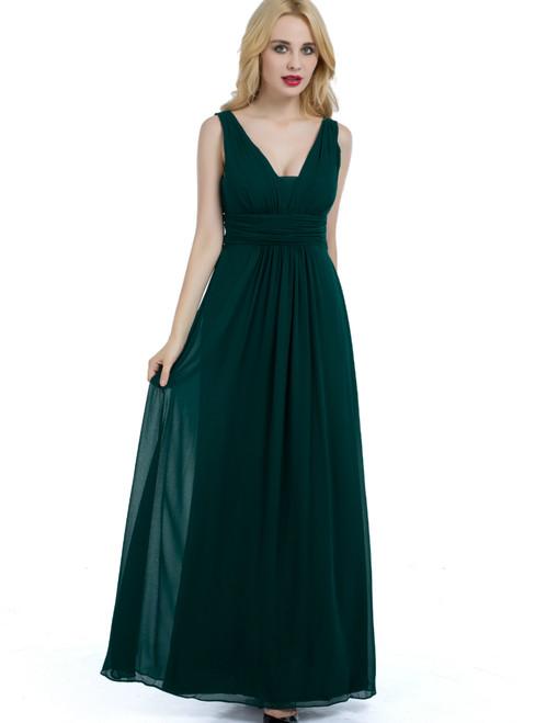 Simple Green Chiffon Backless Pleats Bridesmaid Dress