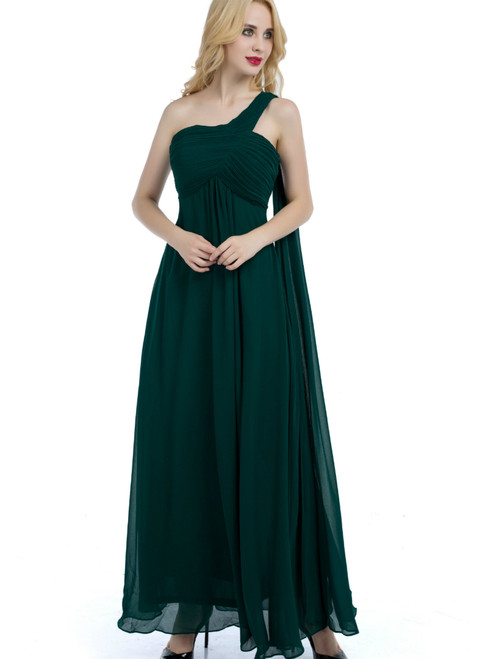A-Line One Shoulder Green Chiffon High Waist Bridesmaid Dress