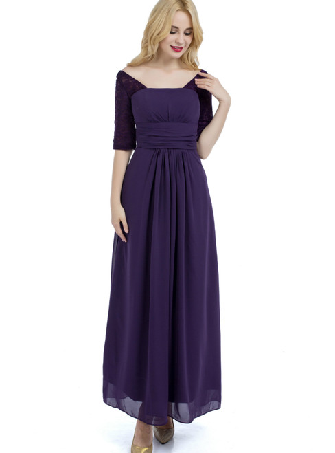 Purple Half Sleeve Chiffon Lace Backless Bridesmaid Dress