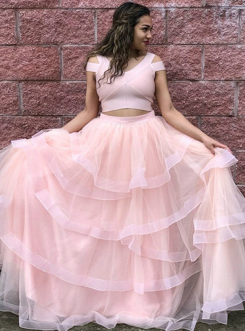 Pink Tulle Two Piece V-neck Floor Length Prom Dress