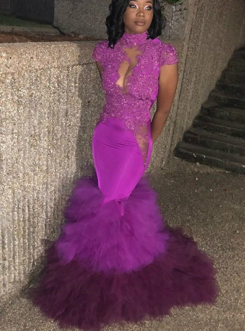 Purple Cap Sleeves High Neck Sequins Lace Appliques Mermaid Prom Dress