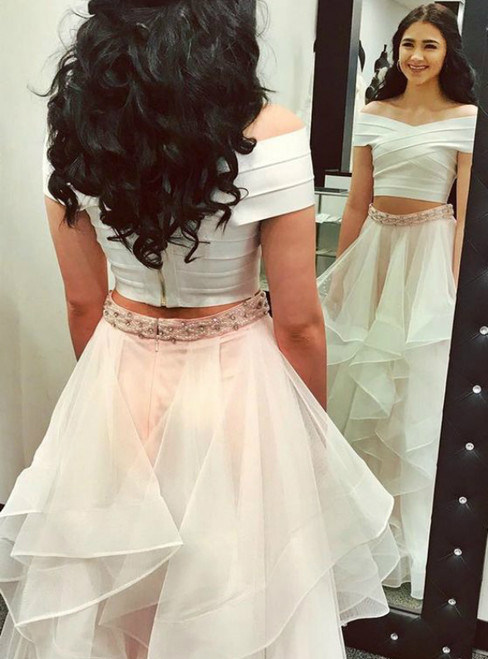 White Two Piece Tulle Off The Shoulder Prom Dress