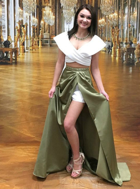 Satin Two Piece Off The Shoulder Green White Prom Dress