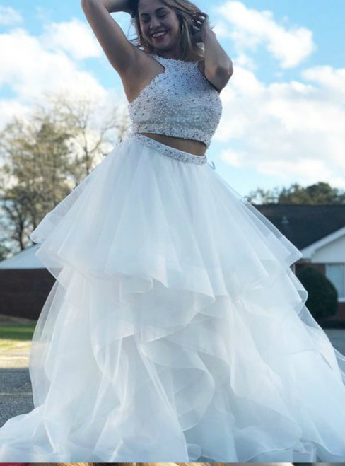 White Halter Two Piece Pearls Floor Length Tulle Prom Dress