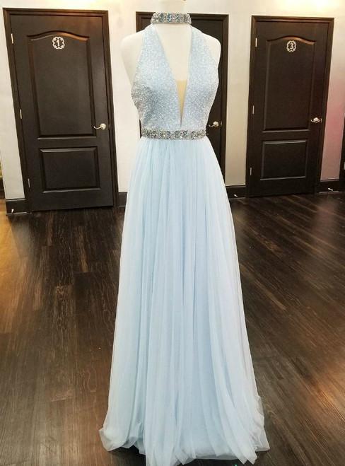 Lilac Satin V neck Prom Dresses Two Piece Long Beaded Evening Dresses